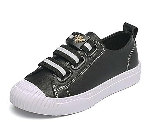 Fashion Sneaker Boy Girl Chaussures Blanches Simple Elastic Band Soft Comfort Anti-skid Chaussures De Sport Respirant Adolescent 1-16 Ans Chaussures De Course En Cuir Pour Bébé ( Color : Black , Size : 29 )