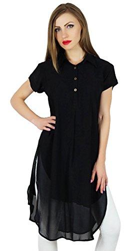 Bimba Frauen schwarz Georgette Tunika kurze kurta kurti beiläufige Bluse Sommer wear (Kurta Georgette)