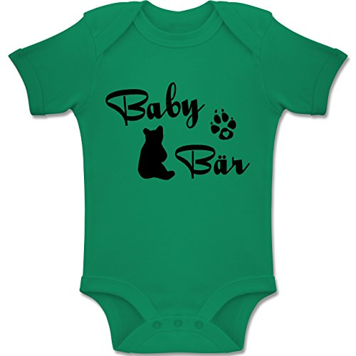 Shirtracer Strampler Motive - Baby Bär Lettering - 12-18 Monate - Grün - BZ10 - Baby Body Kurzarm Jungen Mädchen