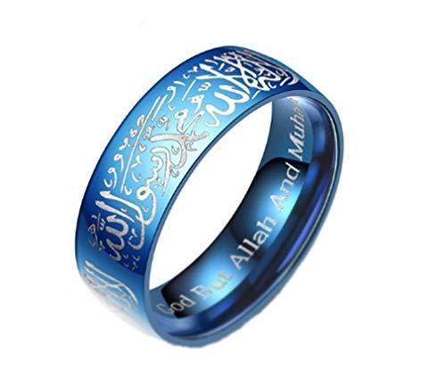 AccessCube Männer Islam Muslim Allah Gott islamischen Ring Edelstahl Muslim Shahada Antiker Ring (Blau/Weiss, 7)