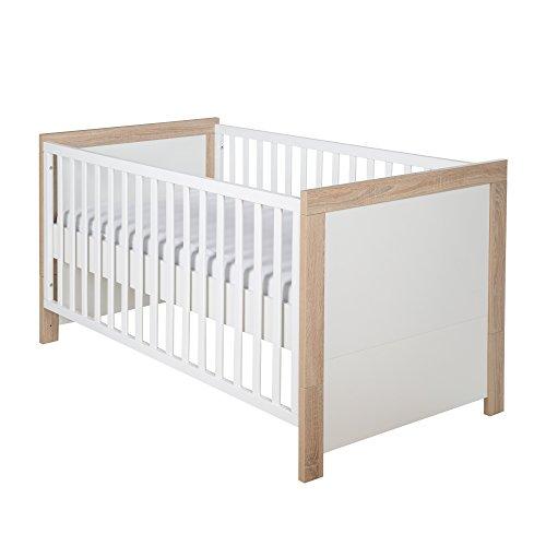 roba Kombi Kinderbett 'Leni 2', 70x140 cm, Babybett weiß/Eiche Sägerau, 3-fach höhenverstellbar, Baby- bzw. Kinderbett umbaubar zum Juniorbett -