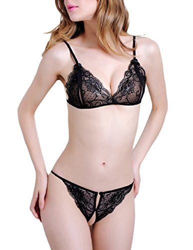 Bomshel Lace Peek-A-Boo Bra And Crotchless Thong 2 Piece Lingerie Set (Black_Free size)