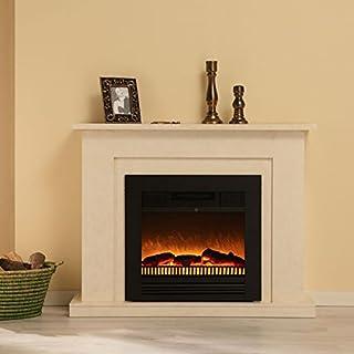 Elektrokamin Windsor marmoriert beige creme von Albero Möbel, OptiFlame Flammentechnik