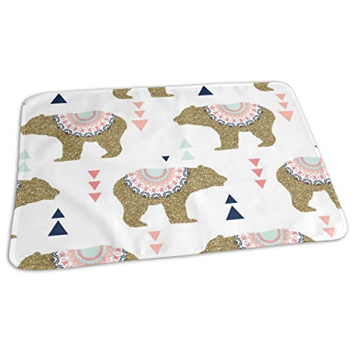 Gold Glitter Bears + Triangles In Blush Pink + Coral + Navy + Aqua Mist Baby Portable Reusable Changing Pad Mat 19.7x 27.5 inch Coral Mist