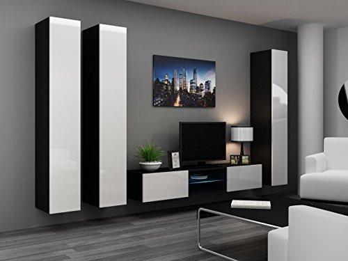 Wohnwand ' Vigo Glass II ' Glasvitrine Hängend Hochglanz Matt , Farbe:schwarz matt / weiß Hochglanz