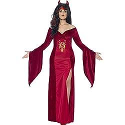 Smiffy's - Disfraz diablo con vestido y cuernos para mujeres, color rojo (44337X2)