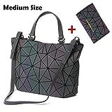 HotOne Scherbe Gitter Design Geometrische Tasche PU-Leder Einzigartige Geldbörsen und Handtaschen (Leuchtend Mittel +Taste Brieftasche, M)
