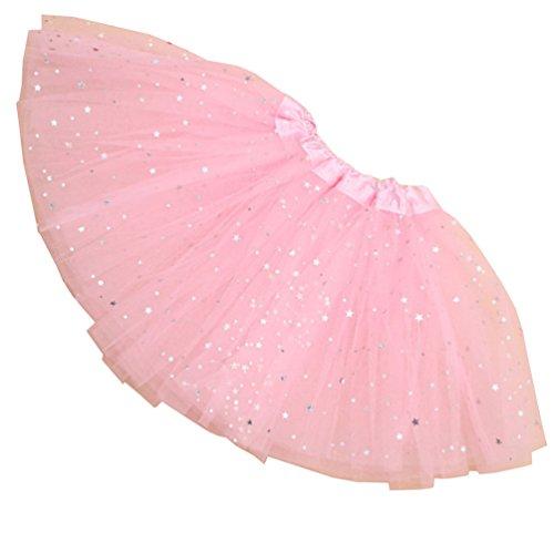 Reciy Sparkle für Mädchen Prinzessin Ballett Dance Layered Tüll Tutu Röcke, 2–8T, Kinder, Hellrosa, ()