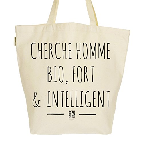Grand Sac Cabas Fourre-tout Imprimé Toile Bio 37x45x20cm Tote Bag XL - Cherche Homme BIO