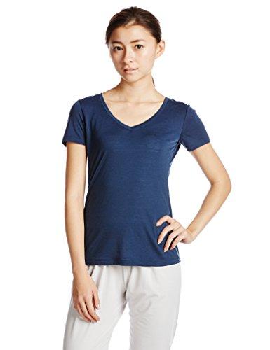 super natural Damen Merino Funktionsshirt kurzarm W V Neck Tee 140, Ocean Deep, 42, SNW003130196 (T-shirt Kurzarm Wolle)