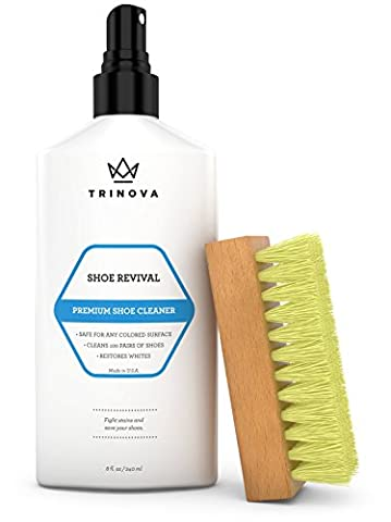 Shoe Cleaner Kit- Tennis, Sneaker, Boots, More - remove dirt and stains. Free Brush - 8oz - TriNova