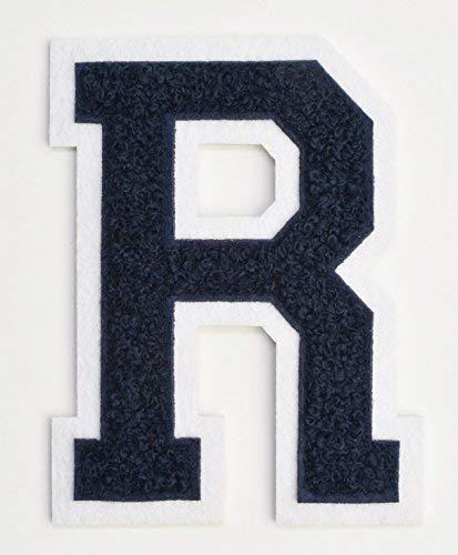 Varsity Buchstabe Patch 41/5,1cm,-zum Aufbügeln oder nähen auf, bestickt Chenille Letterman Patch Letter R dunkles marineblau (Buchstaben-patches Ein)