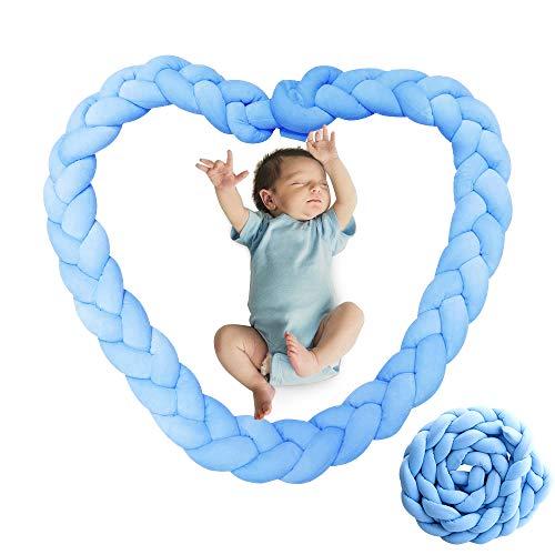 Sporgo Bettumrandung,2M Baby Nestchen Bettumrandung Kinderbett Stoßstange,Baby Nestchen Bettschlange Weben Kantenschutz Kopfschutz Für Babybett,Dekoration Für Krippe Bettschlange 200CM