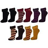 1 bis 5 Paar Damen Kuschelsocken Love Socks mit ABS Anti Rutsch Sohle Thermo Socken Umschlagsocken Schwarz Rot Ocker Lila Braun - 38262