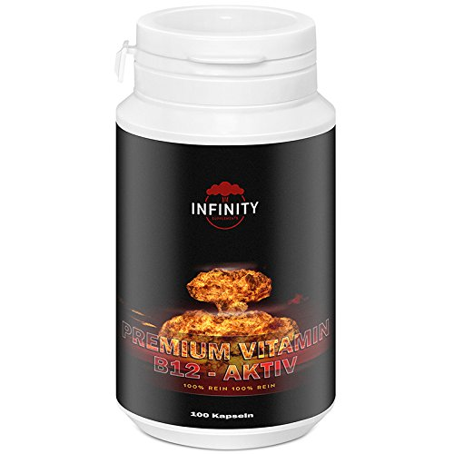 Premium Vitamin B12 Aktiv, 100 Kapseln, Hochdosiert 1000 µg, reines B12 Dibencozide, Muskelaufbau - Energy Cabs
