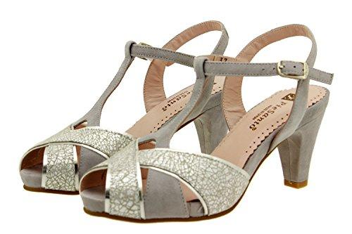 Scarpe donna comfort pelle Piesanto 8258 sandali décolleté comfort larghezza speciale Gris