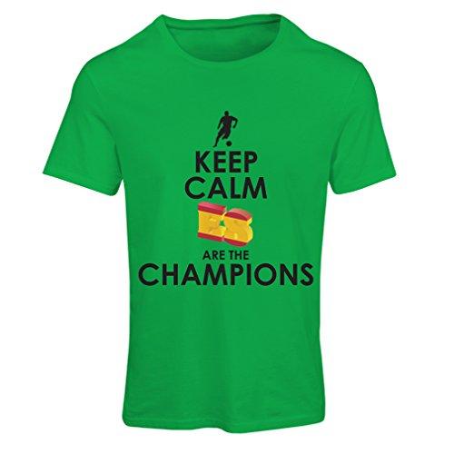 Maglietta donna gli spagnoli sono i campioni, il campionato di russia il 2018, la coppa mondiale - la squadra di calcio di camicia di ammiratore della spagna (xx-large verde
