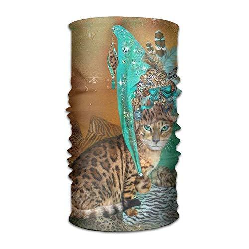 Cat In Leopard Trim Headwear For Men And Women-Yoga Sports Travel Workout Wide Headbands,Neck Gaiter,Bandana,Helmet Liner,Balaclava,Hair Turban,Scarf