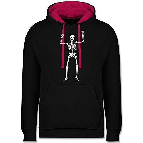 Halloween - Skelett Skeleton - Kontrast Hoodie Schwarz/Fuchsia