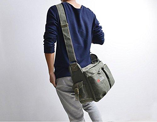 YAAGLE Neu Retor Unisex Schultertasche lässig Herren Umhängetasche Messenger Bag für Reise Sport Freizeit 38x15x30 CM schwarz armee-grün