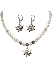 Trachtenschmuck Trachtenset Perlenkette & Edelweissohrhänger (cremeweiß) * Damen Dirndlkette, Perlenkette Oktoberfest