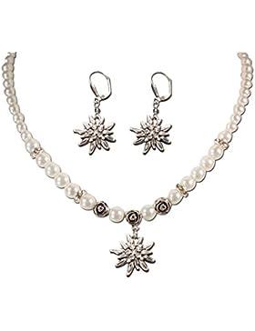 Alpenflüstern Damen Trachtenschmuck-Set Perlenkette und Trachten-Ohrhänger Strass-Edelweiß weiß SET00500010