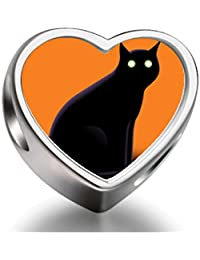 925 Sterling Silver Charms Beads Halloween black cat Heart Photo Charm Beads Fit Pandora Chamilia Biagi beads Charms Bracelet