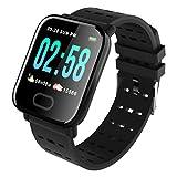 Fitness Tracker/braccialetto intelligente, formato A6, schermo a colori da 3,3 cm, cardiofrequenzimetro, monitoraggio del sonno, contapassi, braccialetto sportivo, per bambini, donne e uomini Nero