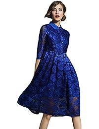 YiLianDa Vintage Abito di Pizzo Donna Vestito Elegante Cerimonia 3 4 Manica  Vestiti eb2ab5af960