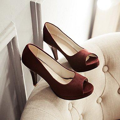 Les talons des femmes Printemps Été Automne Hiver Chaussures Club Bureau Fleece & Carrière Partie & Robe de Soirée Talon noir pourpre Bourgogne Purple