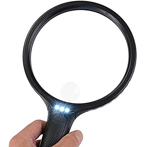 Magnifying Glass, BearMoo 5.5 Inch Extra Large Hand Magnifier with Light - 3 Bright LEDs Illuminated - 2X 5X Magnification Lens- Lightweight- Easy to Use for Mother and Father to Read Small Print etc