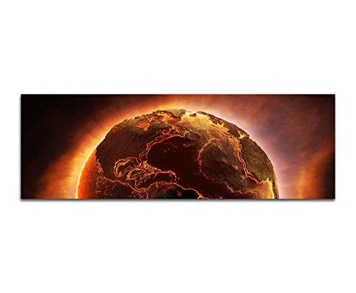 Panoramabild auf Leinwand und Keilrahmen 150x50cm Planet Erde Feuer Desaster