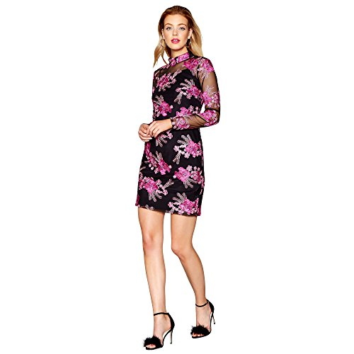 Debenhams Black and Pink Embroidered High Neck Long Sleeve Mini Dress 14