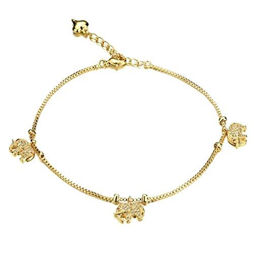Onefeart Vergoldet Fußkette für Frauen Mädchen Runden Zirkonia Elefantenform Strand Fußkette 25CM Gold