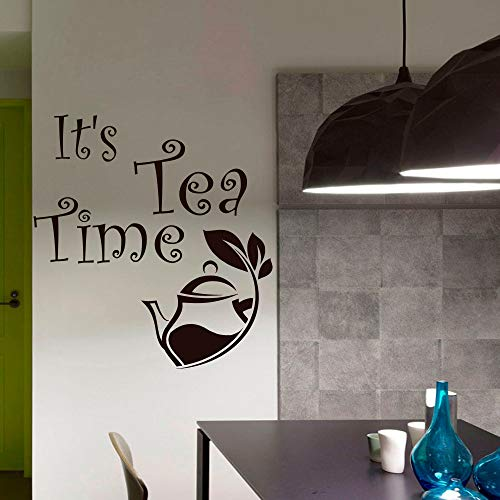 42 * 42 cm Interieur Wohnkultur Küche Vinyl Wandaufkleber Es ist Tee Zeit Moderne Kunst Design Abnehmbaren Klebstoff Teekanne Deco