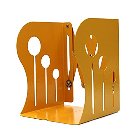 Lenhar Metal Bookends - Heavy Duty & Adjustable Modern Design with Non-Skid Base,Small (Yellow)