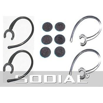 SODIAL(R) 2 x crochet/contour d'oreille pour casque Bluetooth 2 noir 2-clair (6 bouchon mousse) Piece de rechange