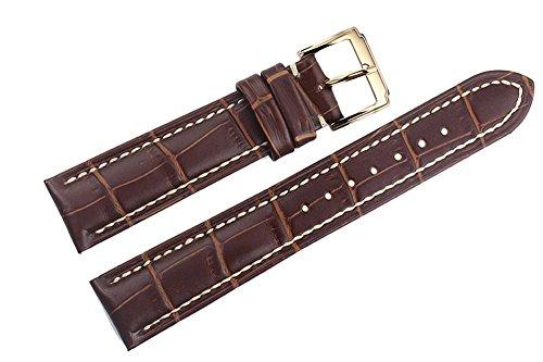 21mm braun italienischen Luxus-Lederersatzuhrenarmbänder / Bands handgemachte weiße Nähte gepolstert für High-End-Uhren (Leder-kies-schnalle Gürtel)