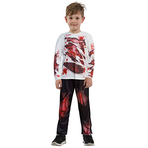 Demon Kind Kostüm - DMMDHR Halloween Halloween Party Schädel Skelett Kostüme Kinder Kind Scary Monster Demon Devil Ghost Sensenmann Kostüm für Jungen Mädchen, 3, L