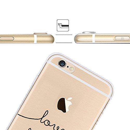iPhone 6S Plus Transparente Case Cover,MingKun Ultra Mince Transparente TPU Bumper iPhone 6 Plus 5.5 pouces Soft TPU Silicone Clair Transparente Case Cover pour iPhone 6 Plus Clair Étui Housse Ananas  lettre Motif-10