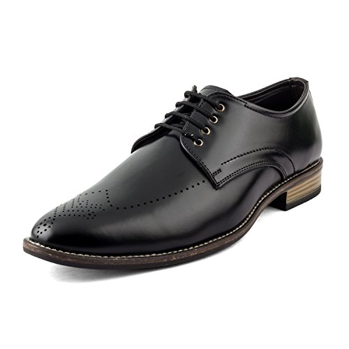 Junu Men's Lace up Formal Shoes (08, Black)