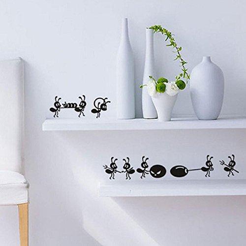 Oyedens 2016 Niedlichen Kleinen Ameisen Wandaufkleber Spiegel Schlafzimmer Aufkleber Fensteraufkleber (Schwarz)