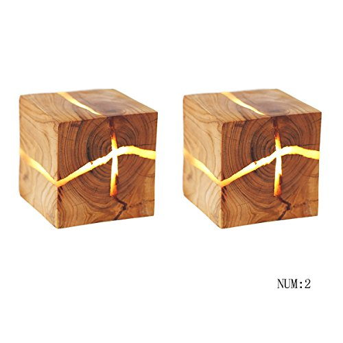 Moderne Nordic Kreative Handmade Cracked Holz MINI LED Wandleuchte Hotel Nacht Gang Wohnzimmer Büro Natürliche Textur Verschönerte Wandleuchte 8 * 8 * 8 CM ( UnitCount : NUM2 ) (Holz-mini-jalousien)