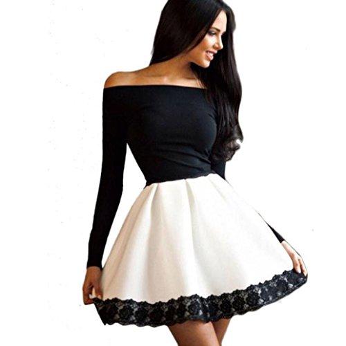 Amlaiworld Donne Casual Off-spalla abito corto manica lunga (S)