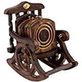Worthy Shoppee Wooden Antique Beautiful Miniature Rocking Chair Design Tea Coffee Coaster Set