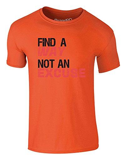 Brand88 - Find a Way, Not an Excuse, Erwachsene Gedrucktes T-Shirt Orange/Schwarz