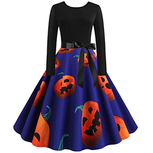 Sunnywill Women Vintage Long Sleeve Abito da Ballo Vintage da Donna Vintage Manica Lunga Halloween Anni '50 Housewife Evening Party Prom Dress
