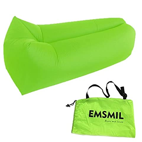 Inflatable Air Bag Emsmil Compression Lounger Sofa Bed Sleeping Pouch Portable Outdoor Inflatable Chair Folding Waterproof For Lounging Camping Beach Park Swimming Pools Green