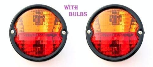 Preisvergleich Produktbild 2x Vintage Rücklicht Lampe mit Lizenz Platte Fenster Traktor Trailer Truck 12V -11000801A