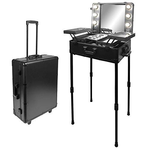 Visagisten-Trolley Kosmetikkoffer Visagistenkoffer Alutrolley Beauty Case Schminktisch + Spiegel + Beleuchtung Los Angeles Schwarz Silber 66x50x26 cm
